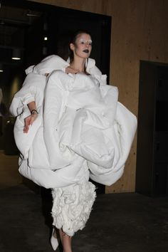 Wearable Sculpture with white, padded 3D construction; soft sculptural fashion // The White Show, CSM