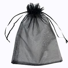 G2PLUS 100PCS 10X15CM Drawstring Organza Jewelry Favor Pouches Wedding Party Festival Gift Bags Candy Bags (Black)