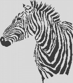 Zebra pattern / chart for cross stitch, crochet, knitting, knotting, beading, weaving, pixel art, and other crafting projects
