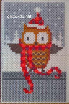 Christmas owl hama perler beads by Deco.Kdo.Nat
