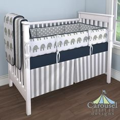 Boy Crib Bedding in White and Gray Stripe, Solid Navy, White and Gray Elephants, Gray and White Polka Dot. Created using the Nursery Designer® by Carousel Designs where you mix and match from hundreds of fabrics to create your own unique baby bedding.