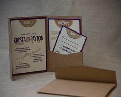 Poster Script Wedding Invitation shown in eggplant purple and rustic gold