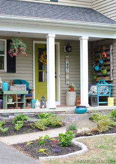 Spring + Summer Front Porch: A small space filled with lots of colors and layers that create a welcoming entry. See the rest of this porch + how it's evolved over the years! www.jennaburger.com