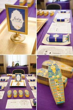 Jewel of the Nile Egyptian Spa Party by Banner Events as seen on HWTM.  Sarcophagus Favor boxes by Piggy Bank Parties.