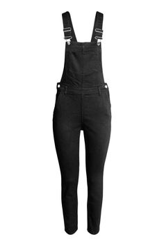 Denim dungarees: Dungarees in washed, stretch denim with adjustable straps, a…