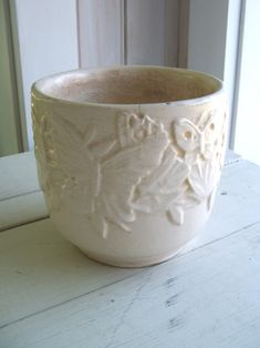 Vintage Nelson McCoy USA White (B) Pottery Planter Butterfly Pattern by lookonmytreasures on Etsy