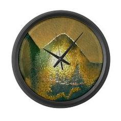sand green gold Large Wall Clock > sand, nature and colorful > MehrFarbeimLeben