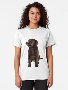 'cute little brown labrador retriever puppy' Classic T-Shirt by tuneoperator Brown Labrador, Little Brown, Retriever Puppy, Heather Grey, Classic T Shirts, Puppies, T Shirts For Women, Artist, Cute