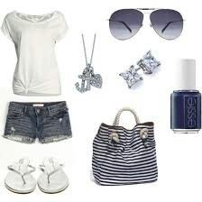 Summer outfit. White Tee. Stripes. Etc