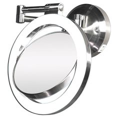 This wall-mount bathroom mirror is equipped with a halo light for even lighting when applying makeup. It pivots and swivels to just about any position and features dual-sided 10x or 1x mirrors to make sure you're looking your best.