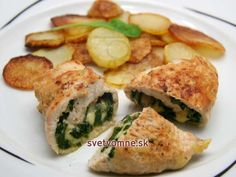 Chicken rolls stuffed with spinach, recipe Spinach Recipes, My Recipes, Rolled Chicken Recipes, Fried Onions, Spinach Stuffed Chicken, Healthy Vegetables, Fries, Rolls, Noodles