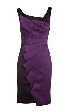 Karen Millen DL025 Signature stretch satin dress Purple