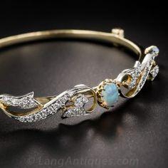 Opal and Diamond Vintage Bangle Bracelet - Art Nouveau Jewelry - Vintage Jewelry