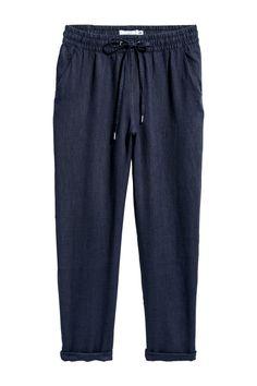 Linen joggers - Dark blue - Ladies | H&M GB 1