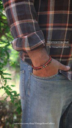 Mens Tribal Bracelet, Boho Men Bracelet, Gemstones Bracelet, Burnt Orange Stackable Bracelet, Friendship Bracelet by VintageRoseGallery Tribal Bracelets, Gemstone Bracelets, Bracelets For Men, Friendship Bracelet Patterns, Friendship Bracelets, Etsy Jewelry, Men's Jewellery, Fabric Tape, Stackable Bracelets