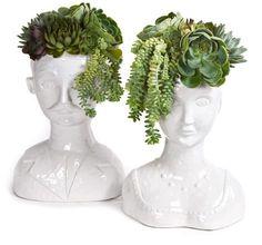 Male & Female Bust Vases - Floral Art, $300