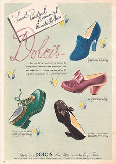 Dolcis Shoes advert 1942 vintage fashion style 40s color illustration print ad shoes heels pumps oxfords women black red blue green lace up slip on bow | Flickr - Photo Sharing!
