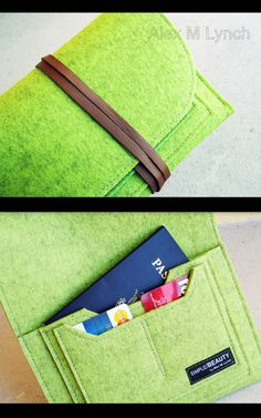 Wool Felt Travel Pouch passport case cellphone от AlexMLynch