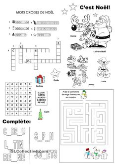free printable Christmas crossword puzzle for kids in
