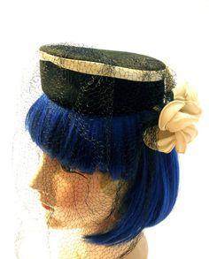 30s 40s Couture Black Felt Tilt Hat with Large Ivory by JackpotJen