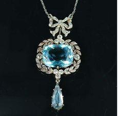 Edwardian aquamarine and diamond pendant.