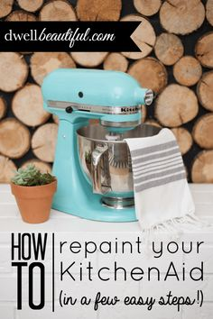 How to Paint Your KitchenAid Mixer - Dwell Beautiful. A great way to update an old mixer, or maybe just add some decoration to one, with stencils or decorative frog tape.