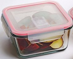 Circleware Tempered Glass Microwave and Oven Safe Red Square Borosilicate Glass Food Storage Container with Vented Snap Lock Plastic Lid 15 Ounce Limited Edition Glassware Cookware Glass Tupperware *** Find out more about the great product at the image link.