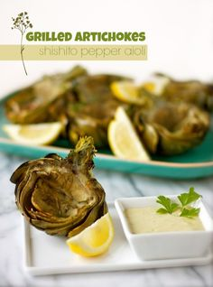 grilled artichokes with shishito pepper aioli