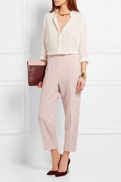 Light-pink stretch-crepe Concealed hook and zip fastening at back 57% viscose, 39% wool, 4% elastane Dry clean Designer color: Patchouli Made in Italy