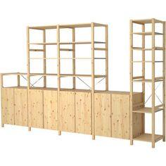 ivar 3 section shelving unit w cabinets pine pine explore and ikea hack. Black Bedroom Furniture Sets. Home Design Ideas