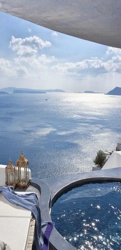 Amazing Mediterranean views and oceanfront whirlpool baths at the  Dronis Luxury Suites, in Santorini, Greece