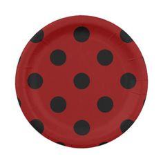Pois énorme - noir sur rouge foncé assiette en papier 17,8 cm