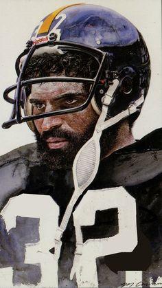 Painting by Merv Corning. Football 101, Pittsburgh Steelers Football, Giants Football, Pittsburgh Sports, Football Photos, Tony Dorsett, Steeler Nation, Sports Pictures, Sports Art