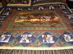Western horse quilt by cutequilts on etsy. Beautiful use of colors!