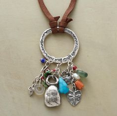 "Jes MaHarry gathers sterling silver charms, 18th- and 19th-century Venetian and African beads, turquoise and ancient coral in her limited edition amulet, strung on a suede cord with a sterling silver slider bead to adjust the length. Made in USA. Exclusive. Approx. 40""L."