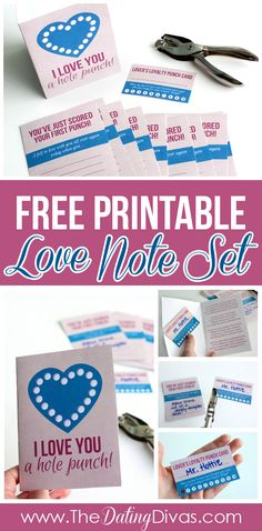 This is the sweetest love note set EVER.  LOVE the Lover's Loyalty punch cards!  What a great way to show your spouse some appreciation AND encourage a little more romance at the same time!  www.TheDatingDivas.com #freeprintable #lovenotes #loveyouaholepunch
