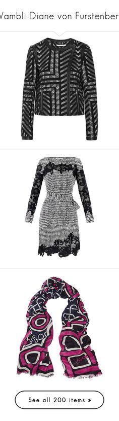 """Wambli Diane von Furstenberg"" by wambliwakan ❤ liked on Polyvore featuring outerwear, jackets, jacquard, black, diane von furstenberg jacket, asymmetrical jacket, snap jacket, leather trim jacket, diane von furstenberg and dresses"
