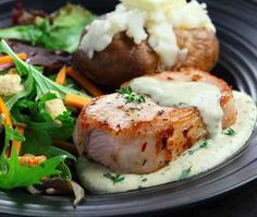 Herbed Pork Chops on Mustard Sauce. Heart healthy main dish recipe that is heart healthy and dude friendly. DiabeticGourmet.com
