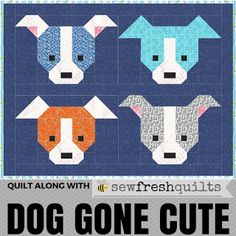 Welcome to week 2 in the Dog Gone Cute quilt along blog hop! Today I will be sharing the instructions for piecing Block 1 & Block 2. Keep up to date with all the details as they are added to the Dog G
