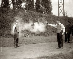 Testing the bullet proof vest, 1920s. No thanks.