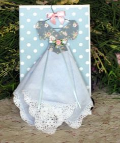 Polka Dots and Flowers Keepsake Hanky Dress - use for idea (emb. hanger, bodice applique, ribbons and flowers Handkerchief Crafts, Soda Can Art, Diy And Crafts, Arts And Crafts, Dress Card, Vintage Handkerchiefs, Recycled Clothing, Recycled Fashion, Vintage Crafts