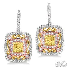 1 Ctw Round Cut White and Yellow Diamond Earrings in 14K Tri Color Gold