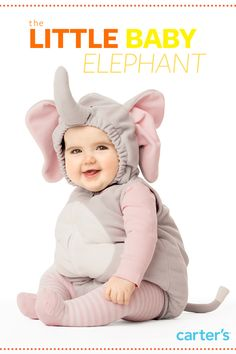 We like to give all our baby costumes little names. Check out the Halloween Bootique to pick your favorite! Little Baby Elephant comes with 1-piece zip-front costume, plus elasticized hood and long-sleeve shirt and knit tights to match…. a customer favorite!