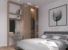 linge de lit à différentes nuances du gris, couleur mur blanche, meuble scandinave, bureau et armoire deux en un, tulipe en noir et blanc comme décoration