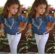denim button up shirt, white skinny jeans and dark belt