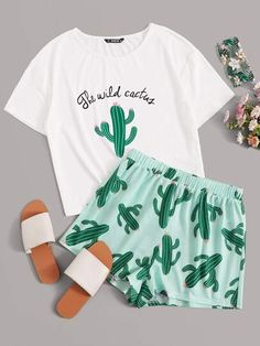 Slogan and Cactus Print Tee and Shorts PJ Set - Pajama Set Cute Lazy Outfits, Teenage Outfits, Outfits For Teens, Stylish Outfits, Emo Outfits, Cute Pajama Sets, Cute Pajamas, Pj Sets, Cute Pjs