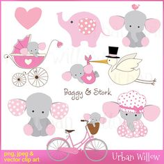 Baggy & Stork - Clip art set in premium quality 300 dpi, Png and Jpeg and Vector files. Elephant Party, Elephant Baby Showers, Baby Elephant, Baby Shawer, Stork, Baby Cards, Gift Tags, Baby Gifts, Craft Projects