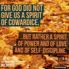 2 Timothy 1:7a-b For God did not give us a spirit of cowardice...