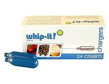 """Whip-it! Cream Charger - 24ct Box by Unknown. $15.65. Approximately 8g N2O each. Set of 24 Whip-It Brand Chargers. Compatible with all standard cream dispenser models in the market. Standard screw valve system. """"Screw Valve"""" is the standard and this charger style will work with any standard cream whipper, including all of ours.  The Brand America Chooses! The Whip-It! brand cream chargers are made out of the finest steel available and must pass through several str..."""