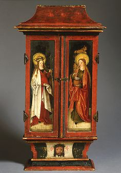 Private Devotional Shrine - Saint Anne holds the diminutive Virgin and Christ Child in the center, while Saints Catherine and Barbara are on the interior of the wings and Saints Ursula and Dorothy on the outside - Swabia, Germany - c. Temptation Of St Anthony, Catholic Altar, Home Altar, St Anne, European Paintings, National Gallery Of Art, Assemblage Art, Saints, Religious Art